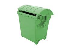 Contenitore verde dell'immondizia Fotografie Stock