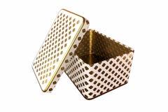 Contenitore vuoto di metallo con il coperchio, isolato su fondo bianco, rappresentazione 3D Immagini Stock Libere da Diritti