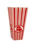 Contenitore vuoto di popcorn isolato su bianco Immagini Stock