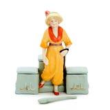 Contenitori antichi di porcellana per i cosmetici con le figurine Fotografia Stock Libera da Diritti