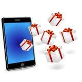 Contenitori astuti di regalo e di telefono Immagini Stock Libere da Diritti