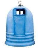 Contenitori blu dell'immondizia isolati su un fondo bianco Immagini Stock