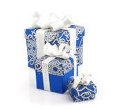 Contenitori blu di regalo su bianco Immagine Stock Libera da Diritti