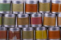 Contenitori colorati di metallo Fotografia Stock
