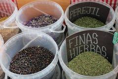 Contenitori con differenti spezie aromatiche immagine stock libera da diritti