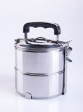 contenitori dei contenitori di alimento o di alimento dell'acciaio inossidabile su un backgrou Immagine Stock Libera da Diritti