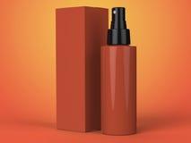 Contenitori dei cosmetici, bottiglia con il pacchetto su fondo variopinto illustrazione 3D Fotografia Stock Libera da Diritti