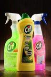 Contenitori dei prodotti del CIF dalla leva di regolazione Fotografia Stock