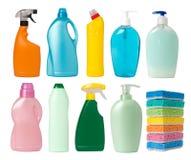 Contenitori dei rifornimenti di pulizia Fotografia Stock