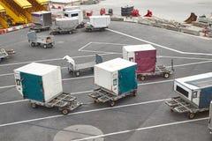 Contenitori delle merci aviotrasportate Fotografie Stock