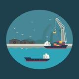 Contenitori di caricamento della nave da carico a bordo Illustrazione di Infographic Fotografie Stock Libere da Diritti