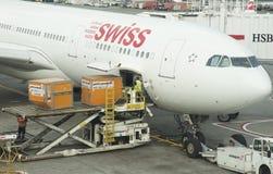 Contenitori di caricamento di movimentazione delle merci degli aerei Fotografie Stock