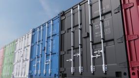 Contenitori di carico colorati contro cielo blu, fuoco basso rappresentazione 3d Fotografia Stock