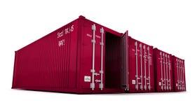 Contenitori di carico rossi con la porta aperta Fotografia Stock Libera da Diritti