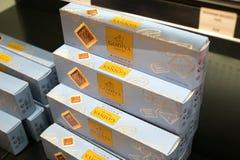 Contenitori di cioccolato di Godiva fotografia stock libera da diritti