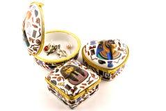Contenitori di gioielli egiziani di geroglifici Immagini Stock