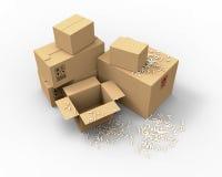 Contenitori di imballaggio marroni multipli del cartone Fotografie Stock Libere da Diritti