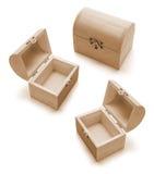 Contenitori di legno miniatura di tesoro Fotografia Stock Libera da Diritti