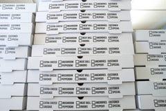 Contenitori di pizza Fotografia Stock