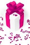 Contenitori di regali con i cuori del tessuto Immagine Stock