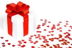 Contenitori di regali con i cuori del tessuto Fotografia Stock