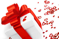 Contenitori di regali con i cuori del tessuto Immagini Stock Libere da Diritti