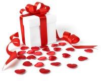 Contenitori di regali con i cuori del tessuto, concetto di giorno di biglietti di S. Valentino Fotografia Stock Libera da Diritti