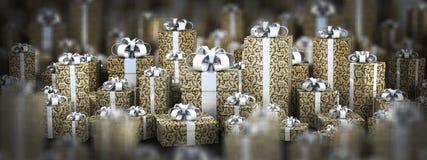 Contenitori di regalo bei con il nastro Fotografia Stock