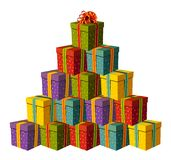Contenitori di regalo che formano un albero di Natale Fotografia Stock Libera da Diritti