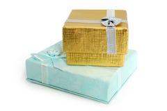 Contenitori di regalo con il nastro Fotografia Stock