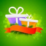 Contenitori di regalo con il nastro in bianco per il Natale Fotografia Stock