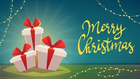 3 contenitori di regalo con il nastro e l'arco, Buon Natale mandano un sms al segno dell'iscrizione illustrazione di stock