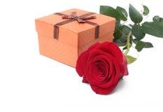 Contenitori di regalo con l'arco e la rosa isolati su fondo bianco decorazione Fotografie Stock Libere da Diritti