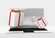 Contenitori di regalo da tavolino del computer 3d-illustration Fotografia Stock
