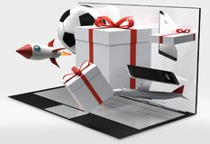 Contenitori di regalo da tavolino del computer 3d-illustration illustrazione vettoriale