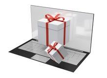 Contenitori di regalo da tavolino del computer 3d-illustration Fotografie Stock Libere da Diritti
