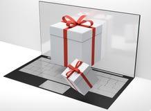 Contenitori di regalo da tavolino del computer 3d-illustration Fotografie Stock