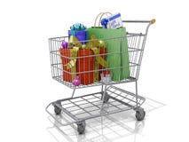 Contenitori di regalo del carrello di acquisto Fotografia Stock Libera da Diritti