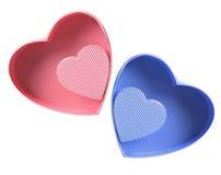 Contenitori di regalo del cuore di amore Fotografia Stock Libera da Diritti