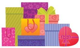 Contenitori di regalo di giorno del biglietto di S. Valentino Fotografia Stock Libera da Diritti