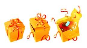 Contenitori di regalo di lusso realistici messi Immagini Stock Libere da Diritti
