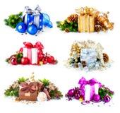 Contenitori di regalo di Natale Immagine Stock