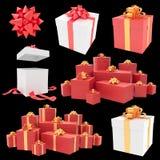 Contenitori di regalo di Natale con la raccolta del nastro Fotografia Stock Libera da Diritti