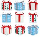 Contenitori di regalo di Natale messi dei regali Fotografia Stock
