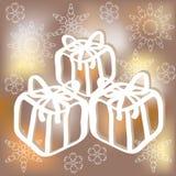 Contenitori di regalo disegnati a mano su fondo vago con i fiocchi di neve illustrazione di stock