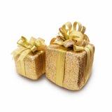 Contenitori di regalo dorati di giorno del ` s del nuovo anno e di Natale, briciolo dei contenitori di regalo Immagini Stock
