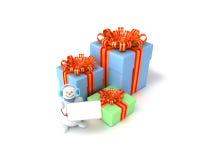Contenitori di regalo e di pupazzo di neve Immagine Stock