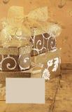 Contenitori di regalo e scheda in bianco Fotografia Stock