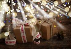 Contenitori di regalo fatti a mano Fotografia Stock Libera da Diritti