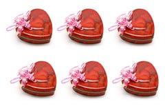 Contenitori di regalo a forma di del cuore Fotografie Stock